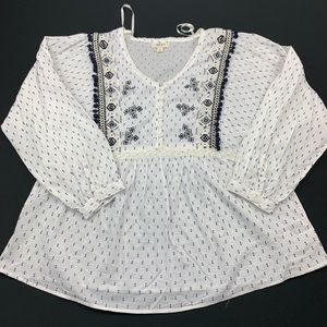 Style co Blouse Embroidered Button Down V Neck Top